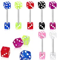 316L Surgical Steel Barbell with a UV Coated Acrylic Dice
