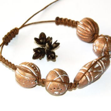 Ceramic bracelet-Brown boho bracelet-Unisex bracelets-Braided-Macrame bracelet-Mens boys womens teenagers jewelry-Ethnic Shamballa bracelet