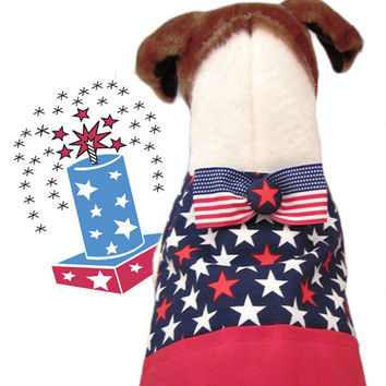 Star Spangled Dude Vest-Dog Bow Tie-Tuxedo Wedding-Custom-Military-Red White Blue Patriotic Fabric Clothing-American Flag Ribbon-XXS,XS,S,M