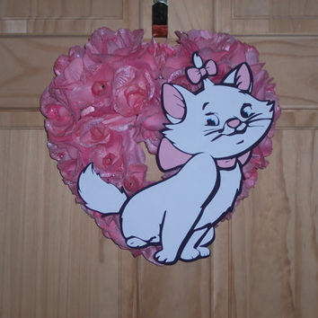 Marie Kitty from Disney's The Aristocats / Heart floral Wreath