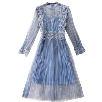 2018 Spring Autumn New Pleated Blue Fairy Flower Lace Gauze Dress Women Elegant Harness Two Piece Sets Z418