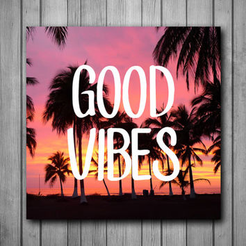 Good Vibes Palm Trees Sunset Photo Panel - Durable Finish - High Definition - High Gloss
