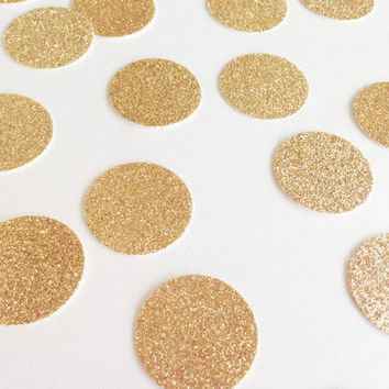 "100 Rose Gold Glitter Circle Confetti - 1"" - Confetti for weddings, birthdays, parties!"