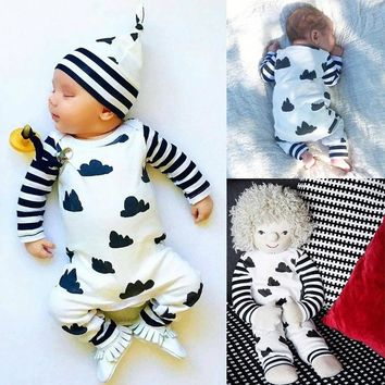 New Kids Baby Girl Boy Clothes Striped Bodysuit Romper Jumpsuit Outfits US Stock