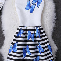 Round Neck Sleeveless Butterfly Print Striped Slimming Dress