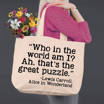 Who In the World Am I | Alice In Wonderland | Canvas Tote Bag