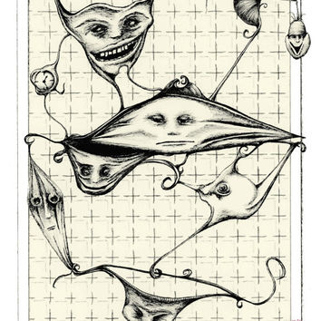 SCRUM TEAM: pen drawing, pen and ink art illustration, surreal and bizarre  free shipping, 8x10 Limited Edition Print