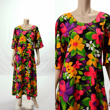 Vintage 60s 70s Mod Tropical Floral Caftan Maxi Dress 1960s 1970s Groovy Hawaiian Flowers Boho Hippie Festival Gypsy Kaftan Luau Long Dress