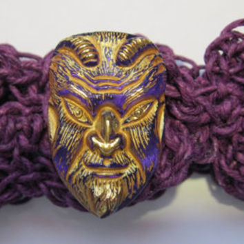 Pan Bracelet - Pagan Jewelry - Purple Hemp Wristband - Czech Glass - Faunus - Horned God - Green Man - Witch or Wiccan Jewelry