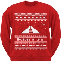 Ancient Aliens Ugly Christmas Sweater Red Crew Neck Sweatshirt