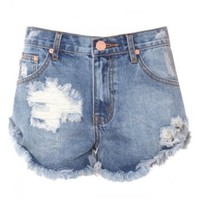 Mid Blue Wash Denim Cut Off Shorts | Attitude Clothing