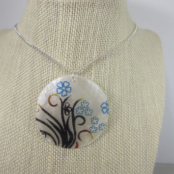 Flower Motif Necklace, Capiz Shell Necklace