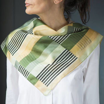 Olive Green Yellow Neck Scarf Geometric Small Bandana Scarf Finest Silk Abstract Green Stripes Scarf Square Pure Silk Fashion Women Gift