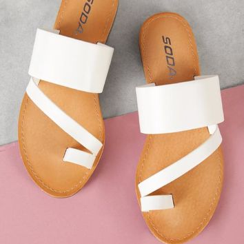 Toe Ring Asymmetrical Slide Sandal | MakeMeChic.COM