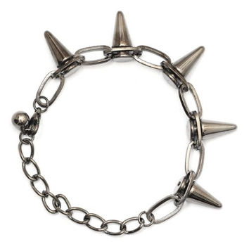 Spike Studs Chain Bracelet BA17 Gunmetal Silver Tone Bullet Edgy Punk Charm Bangle Fashion Jewelry