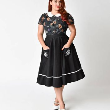 Hell Bunny Plus Size Black Full Moon High Waist Swing Skirt