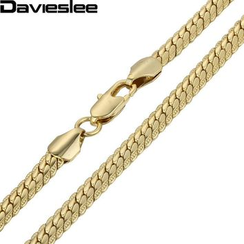 6mm Boys MENS Chain Hammered Flat CLOSE Curb White Yellow Rpse Gold Filled Necklace Chain Bulk Price Gift LGN399