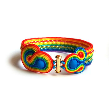 Bracelet Multicolor RAINBOW soutache statement colorful green blue red yellow orange bijoux TOHO bracciali arc en ciel boucles d'oreilles