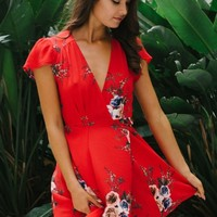 Milly wrap dress - Red/Vintage floral - Stelly