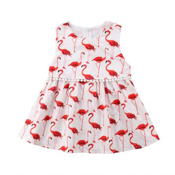 Toddler Kids Baby Girls Flamingos Sleeveless Dress Princess Dresses Clothes 1-6Y