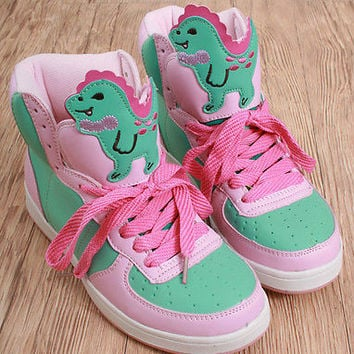 Cutie Kawaii Decora Pastel Candy Multi-Color Hi Top Sneaker Dinosaur Beast Boot