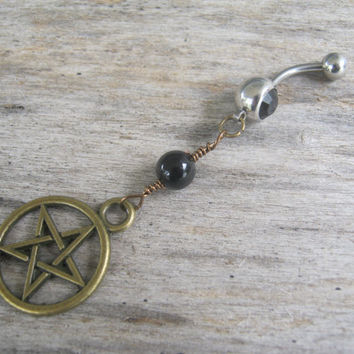 Pentacle Belly Ring, BRONZE Agate Belly Button Ring, Birthstone Navel Piercing, Wicca Body Jewelry, Supernatural Pentagram Navel Ring, Pagan