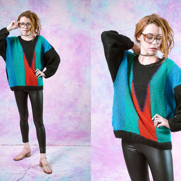 vtg 90s 80s handmade oversized sweater, womens knit crochet, 1990s 1980s baggy long sleeve shirt, urban, tumblr soft grunge, hipster fashion