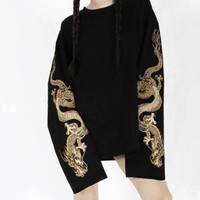 Dragon Embroidered Extended Sleeve Top