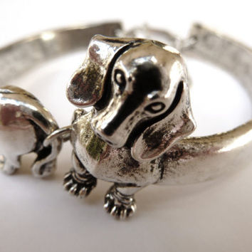 Sterling Silver Dachshund Bangle Dog Bracelet