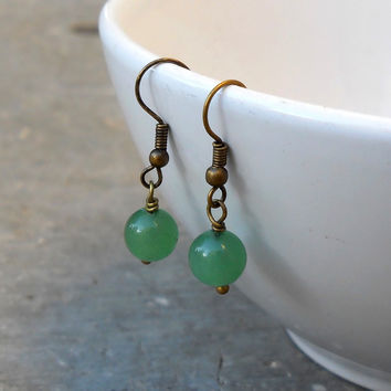 Balance, Genuine Aventurine Gemstone Earrings