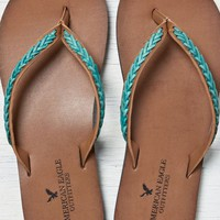 AEO Women's Braided Leather Flip Flop
