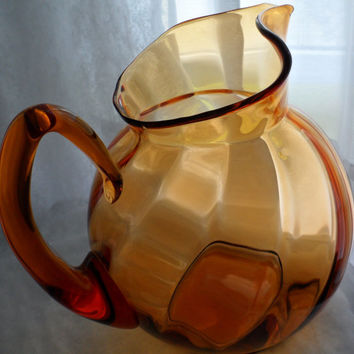 C1960s VENETIAN AMBER GLASS Water Pitcher - Italian Hand Blown Glass Pitcher - Wide Bodied Amber Glass Pitcher - Vintage Amber Glass Pitcher