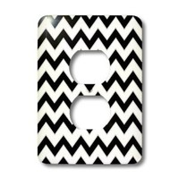 3dRose lsp_110747_6 Chevron Pattern Black and White Zigzag 2 Plug Outlet Cover