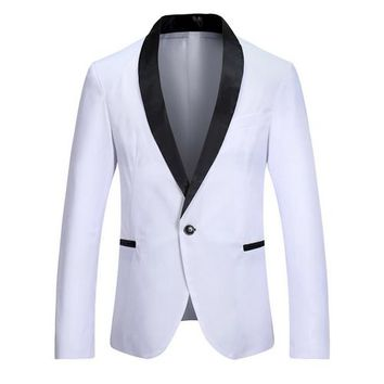 Fashion New Casual Men Brand Blazer Slim Fit Long Sleeve Single Button