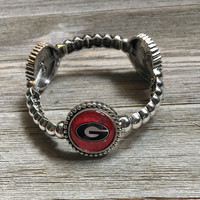 Georgia Bulldog Silver Stretch Bracelet