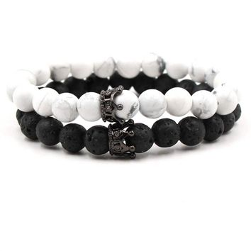 Cool Set of 2pcs Natural Stone Beads Bracelet Bangle King and Queen Crown Couples Charm Bracelet for Women Men Fashion Jewelry GiftsAT_93_12