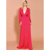 Missord Polka-dot Plunge Neck Split Thigh Maxi Dress