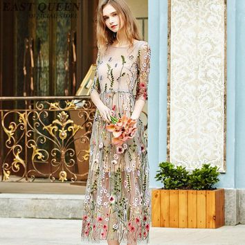 Women Boho chic mexican long floral dress hippie ethnic style dress clothing bohemian holiday beach female sexy dresses NN0998 C