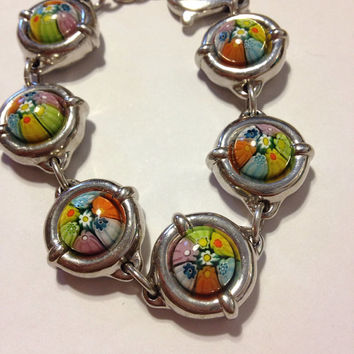 Murano Sterling Bracelet Silver Floral Flowers NIB New Boxed Designs by Aeaa K. Italy Italian Glass Vintage 925 Jewelry Boho Gift Mosaic
