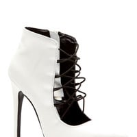 White Faux Leather Pointed Toe Elastic Heels