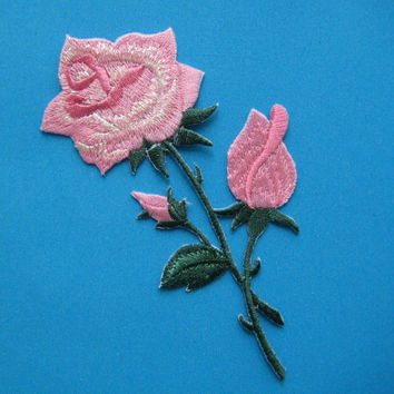 Iron-On embroidered Patch Pink Roses 4.5 inch