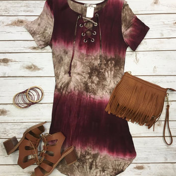 It's Only the Beginning Tunic Dress: Burgundy