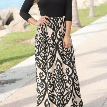 Black Taupe Printed Criss Cross Neck 3/4 Sleeve Maxi Dress