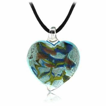 Murano Glass Bronze Gold Color Glitter Blue, Light Green Heart Silk Pendant Necklace