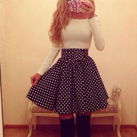 Sexy Slim long-sleeved white dots word shoulder dress LK1211EF