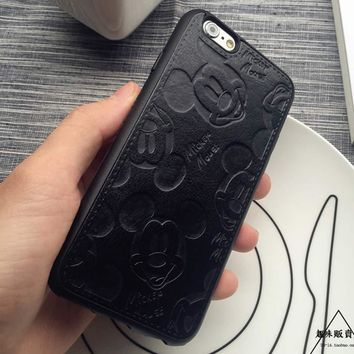 Fashion Cute PU Leather Cartoon Mickey Cases For iPhone 7 6 6S Plus Soft White Black Mouse Hard Shell Cover for iPhone 7 7Plus