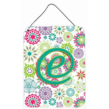 Letter E Flowers Pink Teal Green Initial Wall or Door Hanging Prints CJ2011-EDS1216