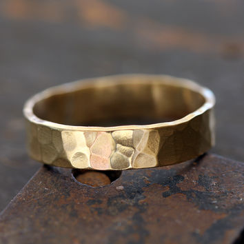 14k Gold Hammered Ring