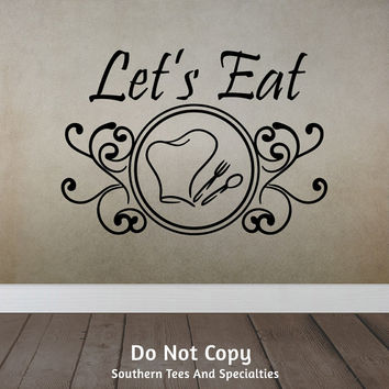 Let's Eat, Chef Hat Spoon Fork Swirls, Family Dinner, Dinner Table, Dining, Kitchen, Cooking, Personalized Word Art Vinyl Wall Decal Sticker
