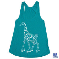 Womens GIRAFFE on ROLLERSKATES  American Apparel Tri-Blend Racerback Tank Top Evergreen S M L  (6 Colors Available)